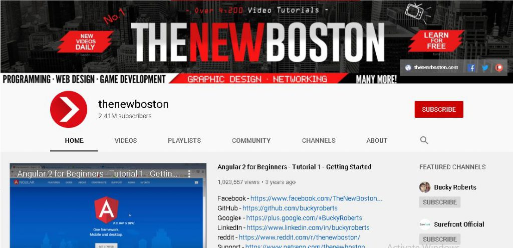 top youtube channels for software developer Sioux